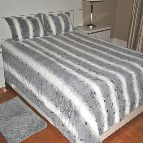 Fashion St. Faux Fur Leopard Print 3-Piece Bedding Blanket Set
