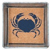Blue Crab Napkin or Trinket Tray Square Galvanized Metal and Printed Cork 5 Inch