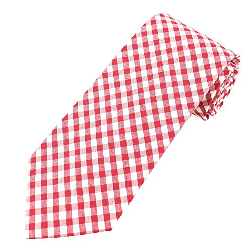 Men's Red Gingham Pattern Tie