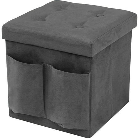 Foldable Storage Ottoman With Pockets And Cover Suede