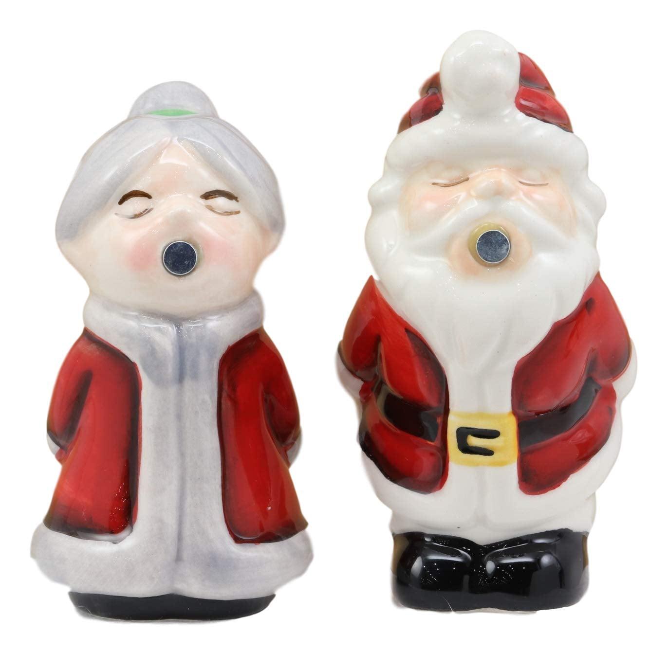 Mr /& Mrs.Garden Gnome Kissing Salt /& Pepper Shakers Magnetic Ceramic Set