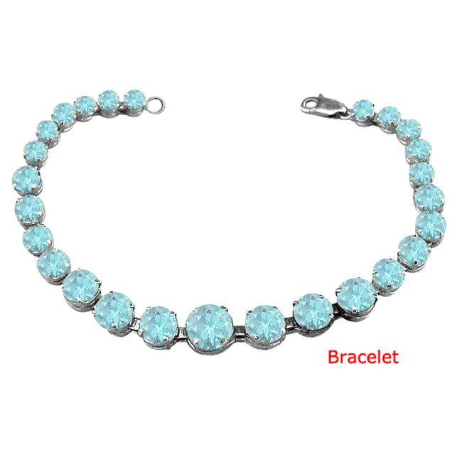 Fine Jewelry Vault UBUBRBK7205AGAQ Sterling Silver Created Aquamarine Prong Set Bracelet March Birthstone Jewelry by Fine Jewelry Vault
