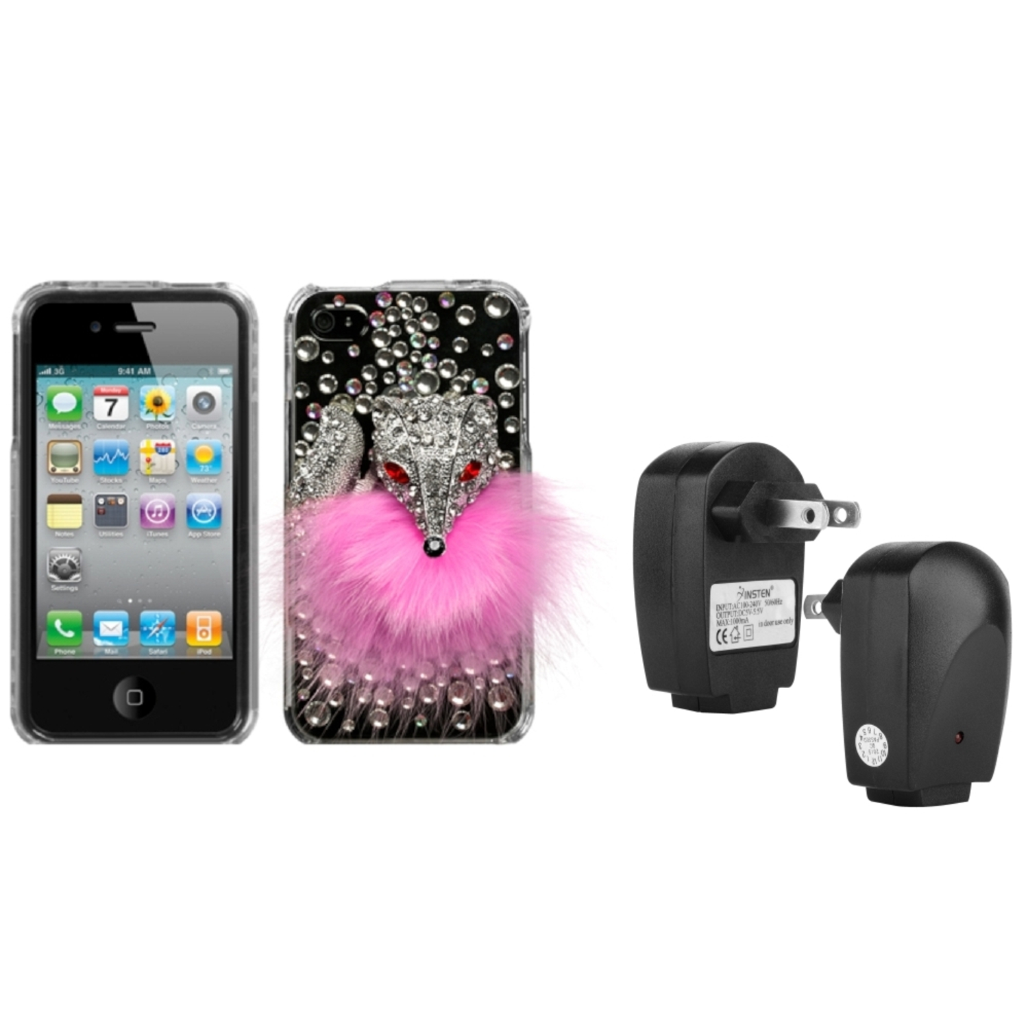 Insten Pink Fox Crystal 3D Case (w/Package) For iPhone 4 4S + USB Travel Charger