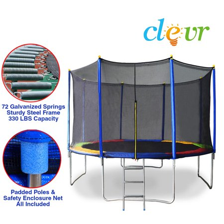 New Clevr 12 Ft Trampoline Bounce Jump Safety Enclosure Net W  Spring Pad Round
