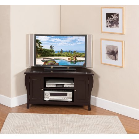Journee 42 Espresso Wood Contemporary Corner Entertainment Center Media Console Tv Stand With Storage Cabinets
