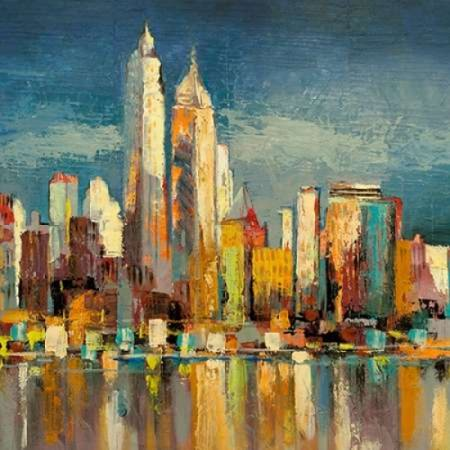 Manhattan Aqua- detail Stretched Canvas - Luigi Florio (12 x 12)