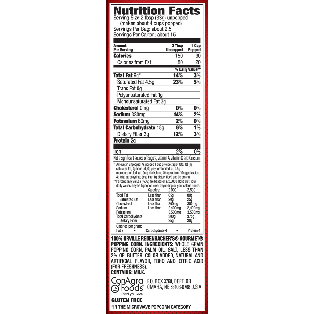 Nutrition Info Bag Microwave Popcorn The Art Of Mike Mignola