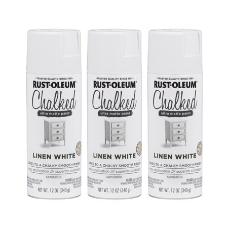 (3 Pack) Rust-Oleum CHALKED Ultra Matte Paint, Linen White 42 Rust Finish Wall