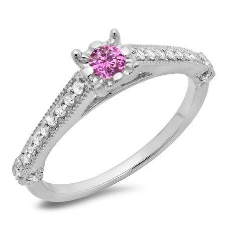 14K Gold Round Cut Pink Sapphire & White Diamond Solitaire With Accents Engagement (Diamond Engagement Rings With Pink Sapphire Accents)