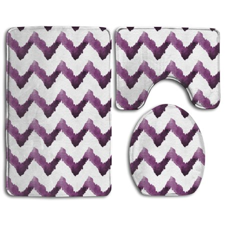 EREHome Watercolor Chevron Stripe Purple 3 Piece Bathroom Rugs Set Bath Rug Contour Mat and Toilet Lid Cover - image 1 of 2