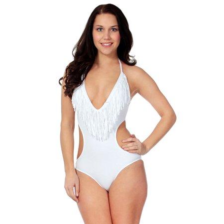 Simplicity Women's V Neck One-Piece Fringe Monokini Swimsuit Swimwear, White, S - Trendy Monokini