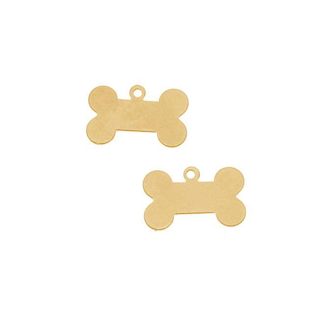 Solid Brass Blank Stamping 'Dog Bone' Pendant 15.5x10mm (2)
