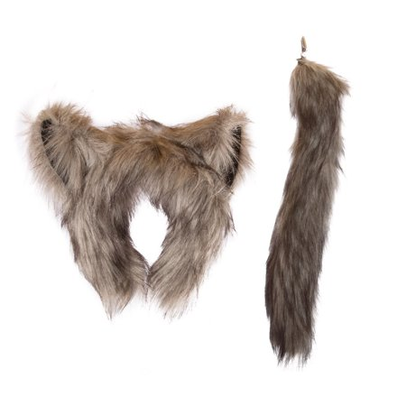 Wildlife Tree Plush Wolf Ears Headband and Tail Set Wolf Costume, Cosplay, Pretend Animal Play or Forest Animal Costumes