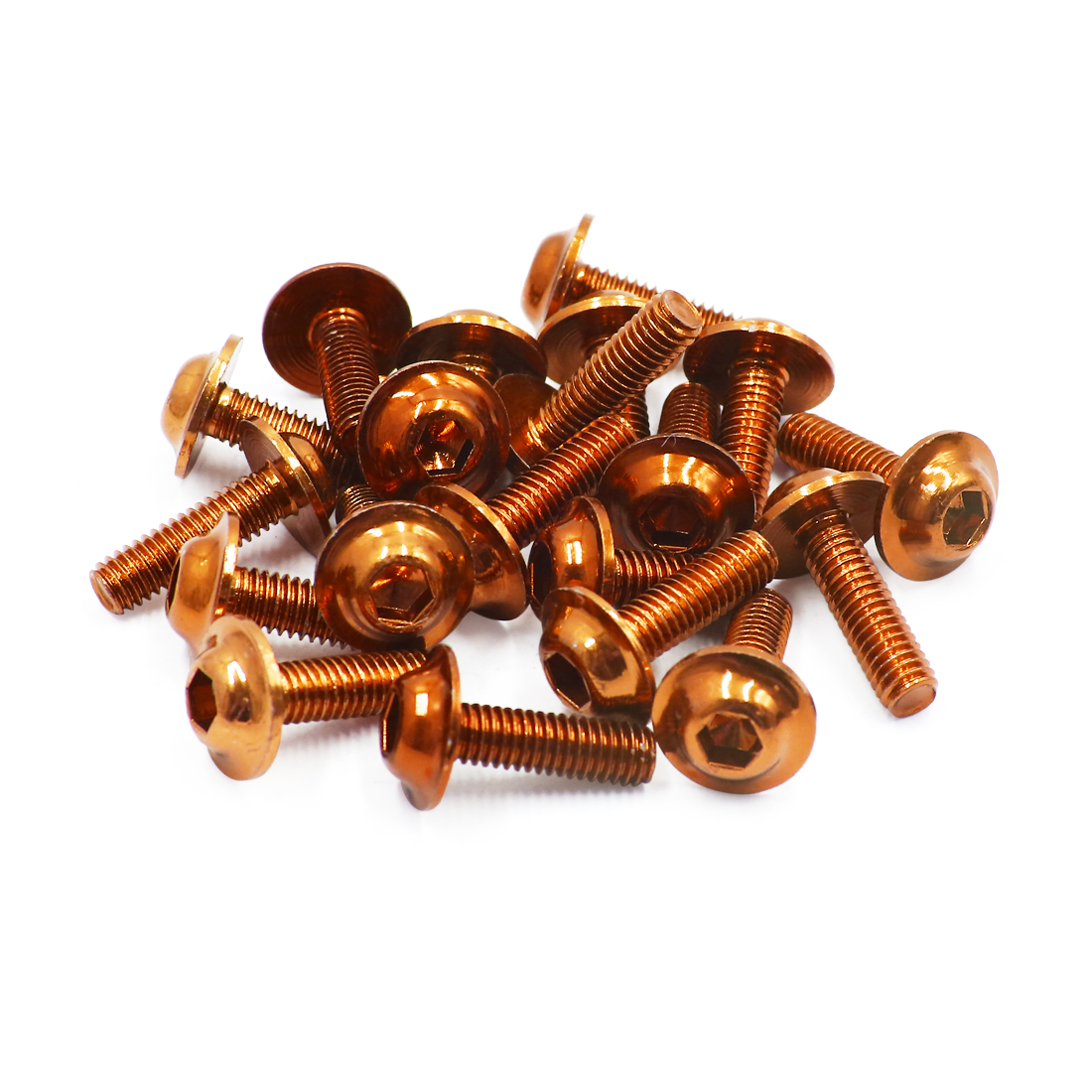 20pcs Orange Aluminum Alloy Motorcycle Hex Socket Head Bolts Screws M6 x 20
