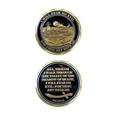Logo Challenge Coin - United States Navy Psalms 23 I Will Fear No Evil Double Sided Collectible Challenge Coin