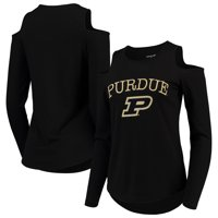 Purdue Boilermakers Women's Cold Shoulder Long Sleeve T-Shirt - Black