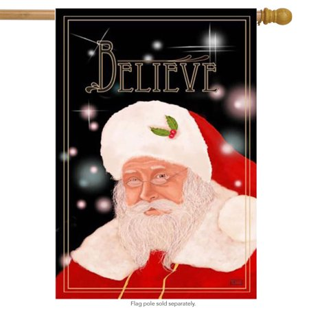 Believe Santa Claus Christmas House Flag Holiday Yard Banner Inspirational 28x40 ()