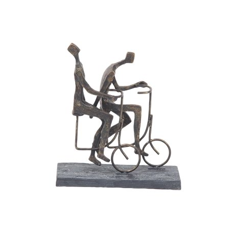 Decmode Contemporary Abstract Cycling Couple Resin Sculpture, Brass
