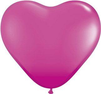 PIONEER BALLOON COMPANY Heart Shaped Latex Balloon, 6, Fashion Wild Berry