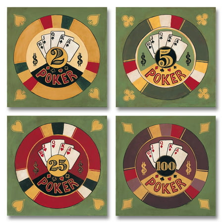 Vintage, Retro Poker Sign; Casino Chips and Cards; Four 12X12 Poster