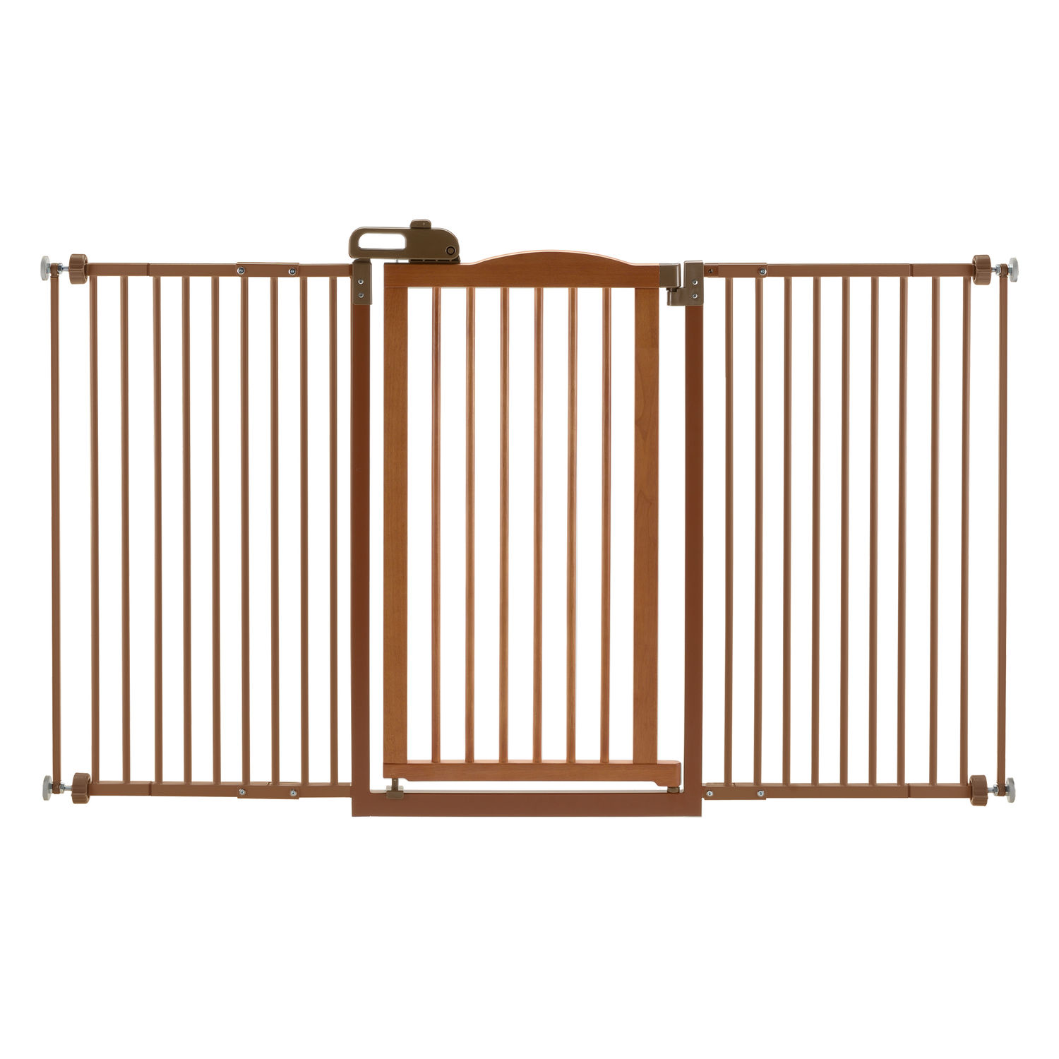 Richell One-Touch Tall and Wide Pressure Mounted Pet Dog Gate II Brown