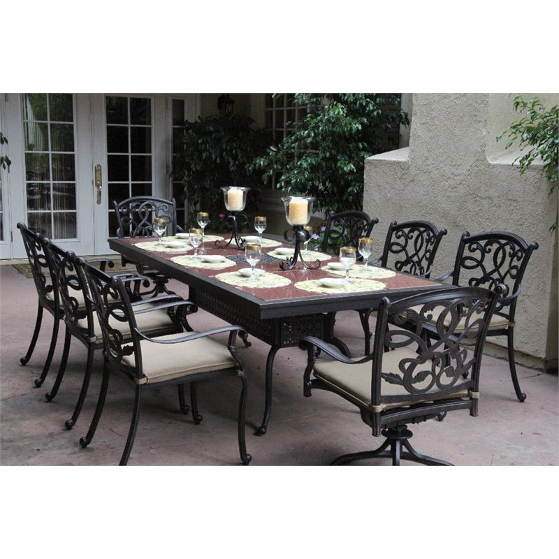 Darlee Santa Monica 9 Piece Patio Granite Top Dining Set with Cushion
