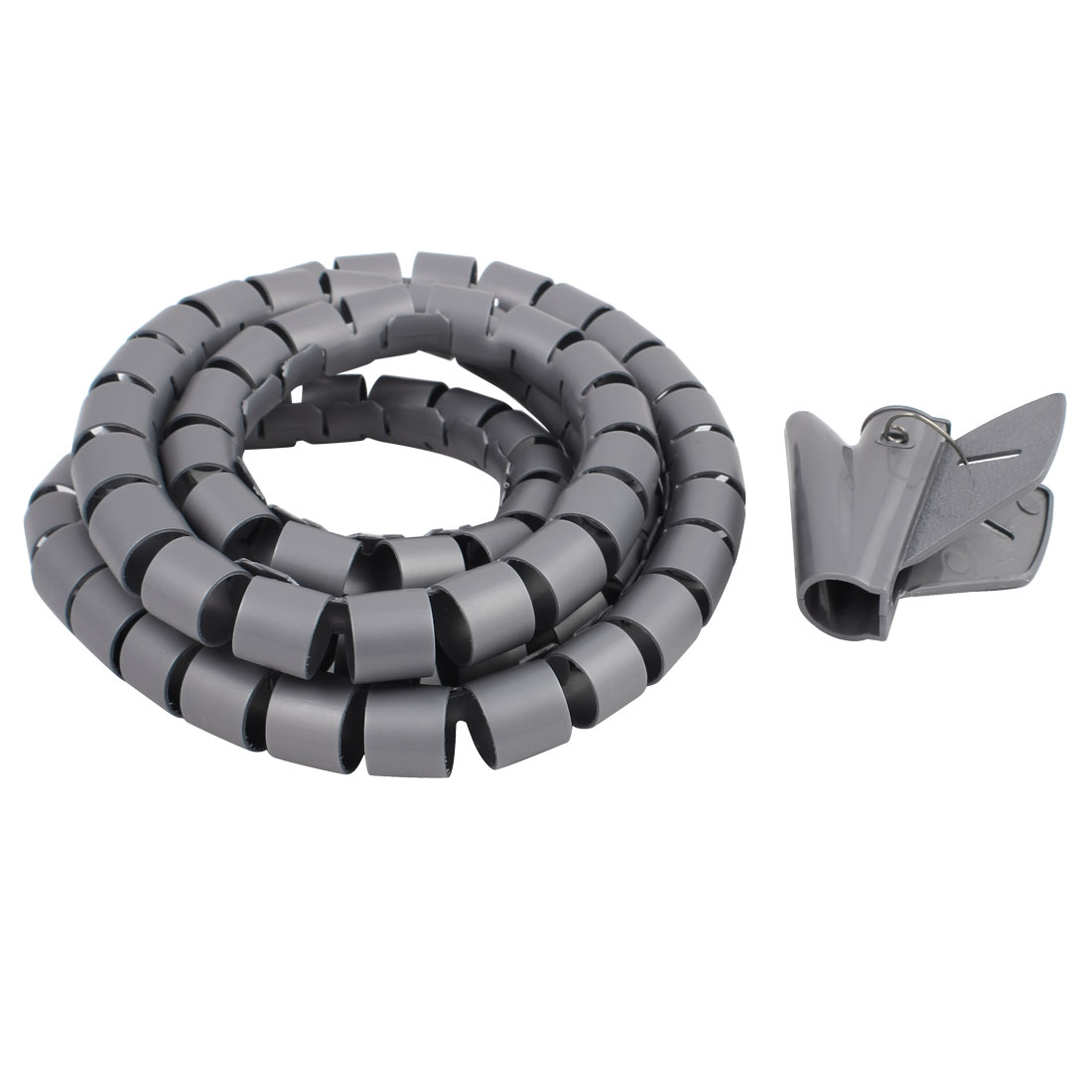 20mm Flexible Spiral Tube Cable Wire Wrap Computer Manage Cord Gray ...