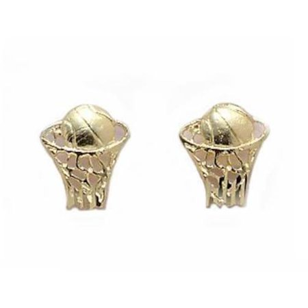 14K Gold Basketball In Hoop Earrings 9mm](Basketball Earrings)