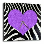 3dRose Punk Rockabilly Zebra Animal Stripe Purple Heart Print - Wall Clock, 10 by 10-inch