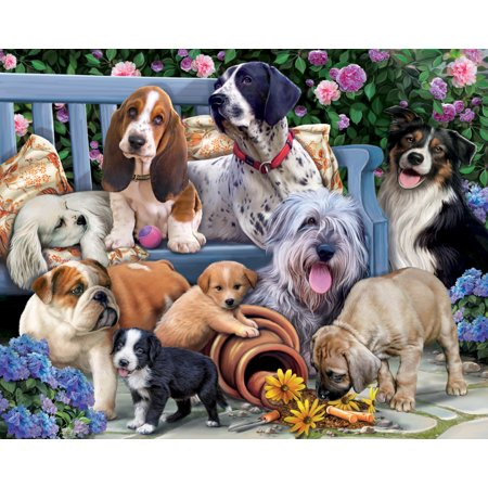 Vermont Christmas Company Dogs on a Bench - 1000 Piece Jigsaw Puzzle - Dog Puzzles