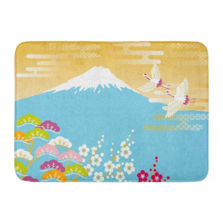 - GODPOK Greeting Japan Japanese Red Crowned Crane Flying in The Mount Fuji and Plum and Pine Cloud Oriental Rug Doormat Bath Mat 23.6x15.7 inch