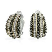 Bali Style Beaded Caviar 2 Tone Crystal Half Hoop Clip On Earrings Silver Plated