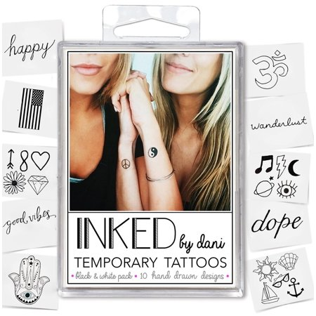 INKED by Dani Black and White Temporary Tattoo Pack Temporary Tattoo Pack