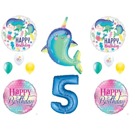 Narwhal and Mermaid 5th Birthday Party Balloons Decoration Supplies Ocean Whale - Whale Party Supplies