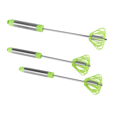 (Ronco Self Turning Rotating Turbo Push Whisk Mixer Milk Frother Green 3-Pack)