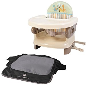 Summer Infant Deluxe Comfort Folding Booster Seat with Seat Neat Chair Cover, Safari
