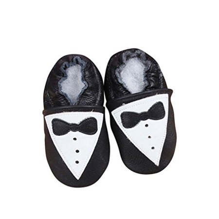 Unique Boys Shoes (Baby Moccasins with Tuxedo Design for Boy Girl Infant Toddler Pre Walker Crib Shoe with Embellished Design (Small (4.5)