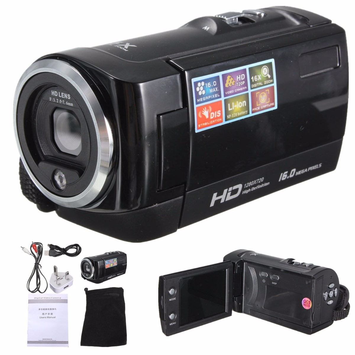 HD720P Digital Video Camera 27 LCD Touchscreen Camcorder DV Sport DVR 16MP ZOOM 170 A HD Wide Angle Lens