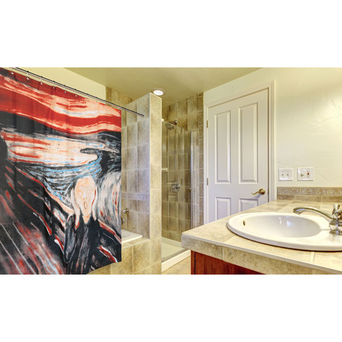 """The Scream"" Museum Collection 100% Polyester Fabric Shower Curtain, Size 70""x72"""