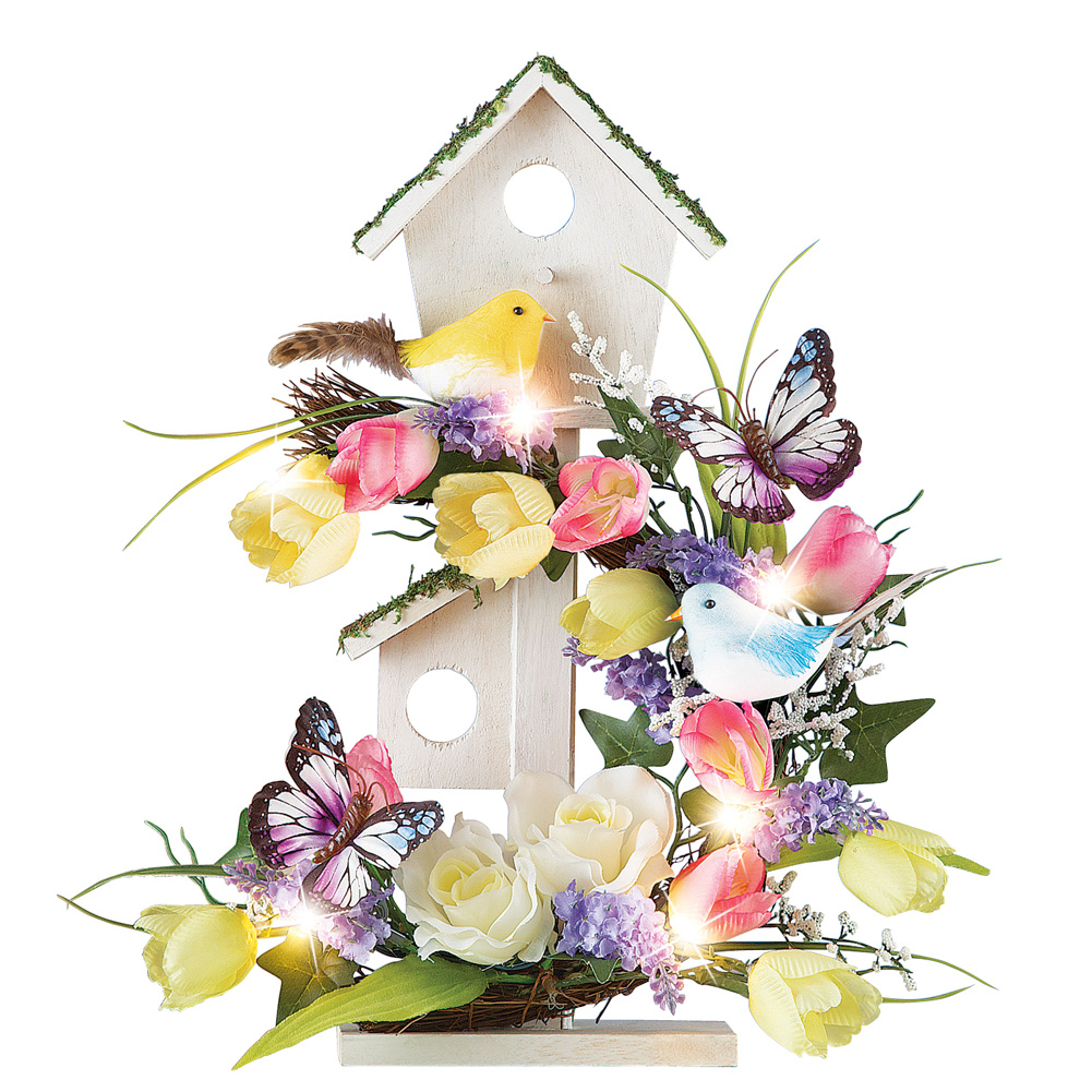 Spring Table Decoration Birdhouse with Floral Arrangement & Lights by Collections Etc