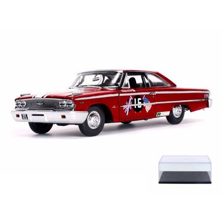 Diecast Car & Display Case Package - 1963 Ford Galaxie 500/XL #15 B. WIilliams/M. Steele St. Mary's Trophy Race, Goodwood Revival - Sun Star 1472 - 1/18 Scale Diecast w/Display Case (Star Trophy)