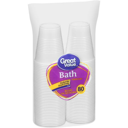 (2 pack) Great Value 5 oz Bath Plastic Cups, 80 count - Glow Plastic Cups