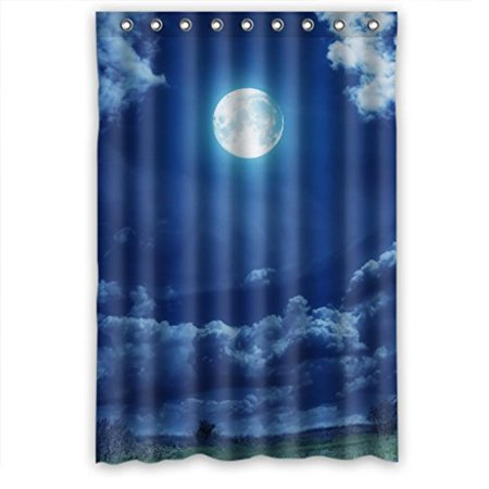 HelloDecor Blue Sky Clouds Round Moon Wide Gras Tree Shower Curtain Polyester Fabric Bathroom Decorative Curtain Size 48x72 Inches ()