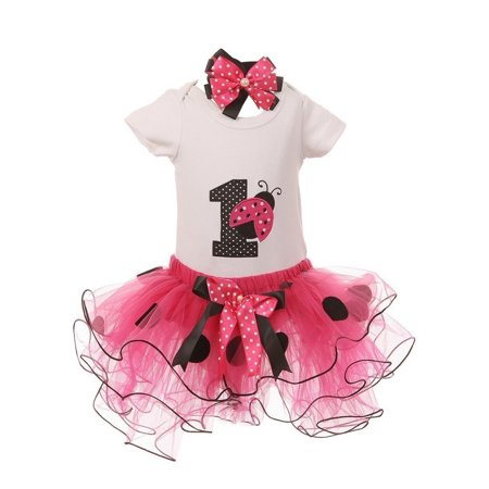 Baby Girls Fuchsia Ladybug Top Tutu Skirt Bow 3 Pc Birthday Set 1 Year