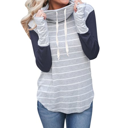 Nlife Women Colorblock Striped Drawstring Turtle Neck Top
