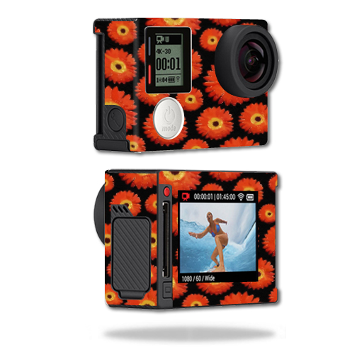 Mightyskins Protective Vinyl Skin Decal Cover for GoPro Hero4 Silver Edition Camera Digital Camcorder wrap sticker skins Orange Flowers