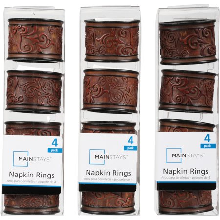 Mainstays Napkin Rings, Brown, Set of 4 (Wholesale Napkin Rings)
