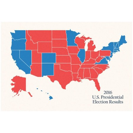 2016 US Presidential Electoral College Map Poster -
