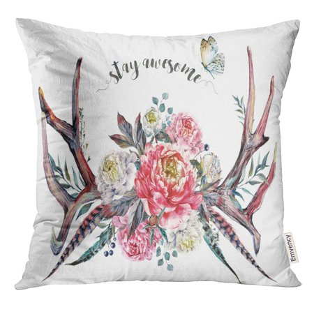 CMFUN Watercolor Painting of Deer Antlers Decorated with Pink and White Peonies Pheasant Feathers Berries Pillow Case 20x20 Inches