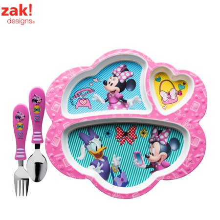 Disney Minnie Mouse Kids Divided Plate and Flatware Set , 3-piece